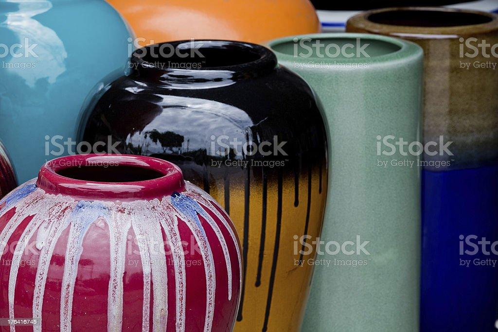 Colored jars. stock photo