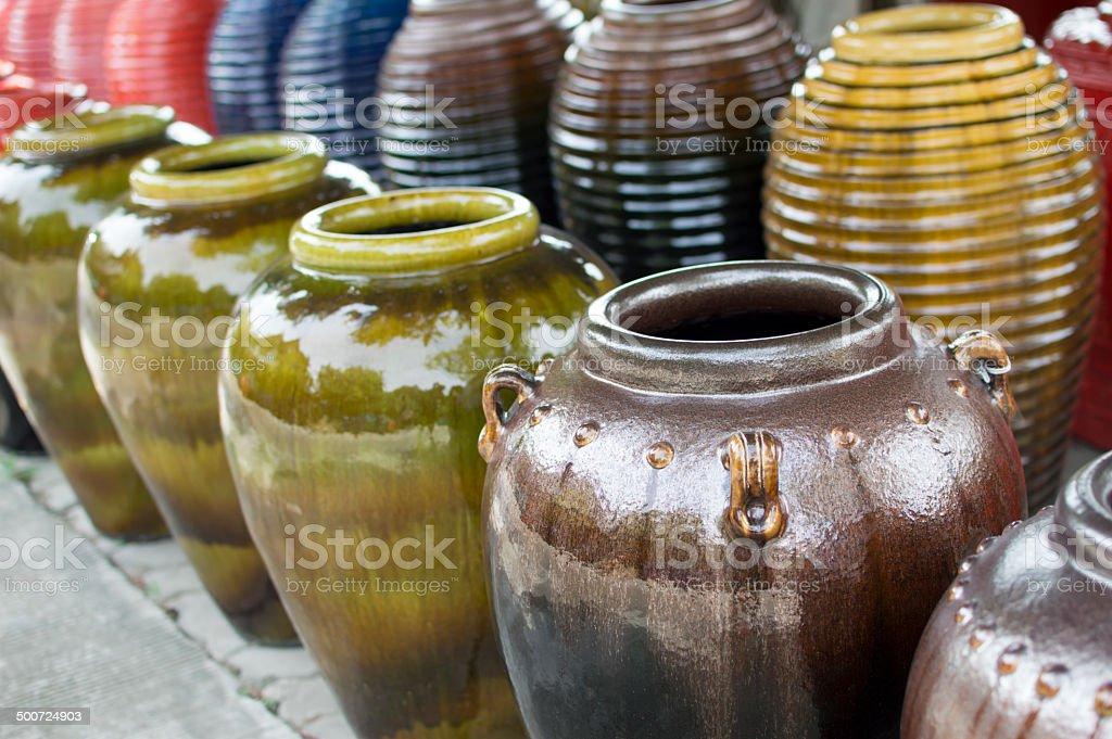 Colored jars stock photo