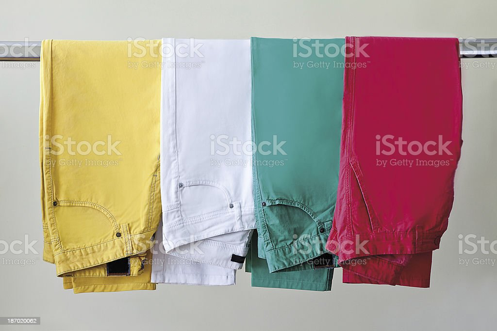 colored jeans stock photo