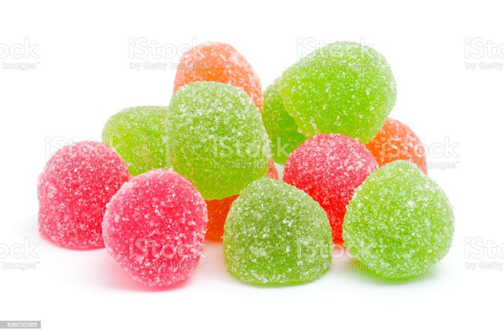 Farbige Gelee süße Zucker Bonbons isoliert auf weißem Hintergrund – Foto