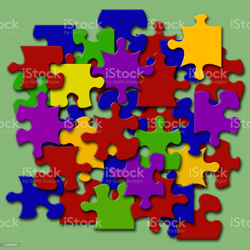 Colored Jigsaw Pieces royalty-free stock photo