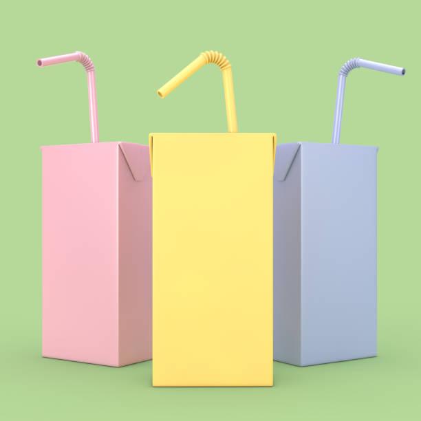 Jus de couleur, d'yogourt ou de boîte de lait à la consommation de paille et libre de l'espace pour le vôtre conception. rendu 3D - Photo