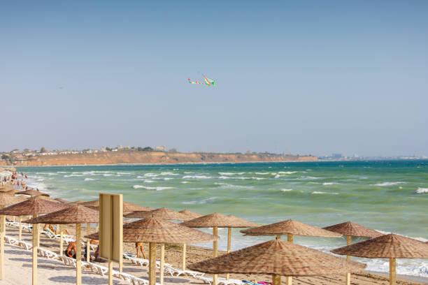 Colored kite high above the beach in Vama Veche, Constanta, Romania. stock photo