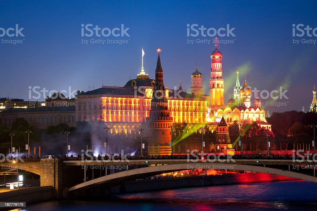 Colored Kremlin on Victory Day in Moscow, Russia royalty-free stock photo