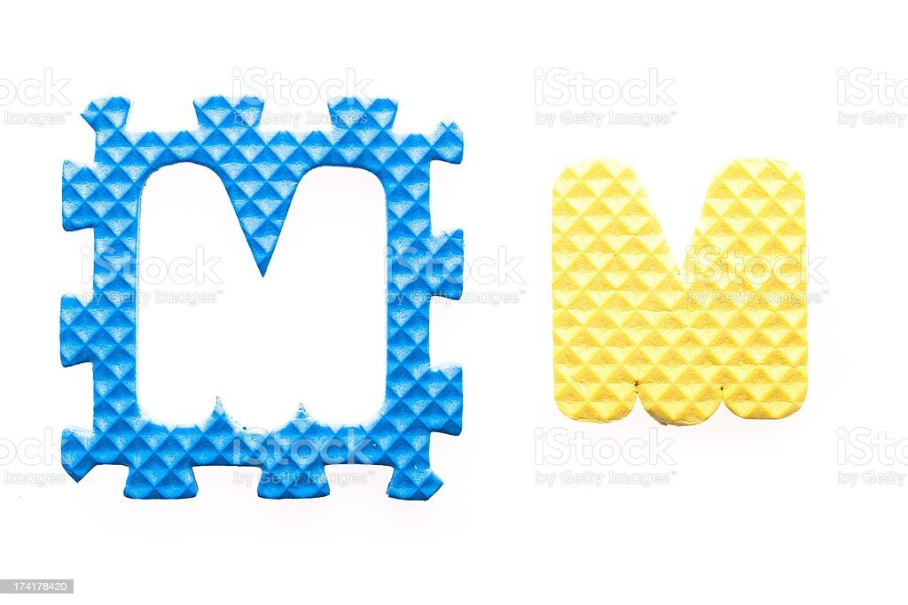 Colored letters M alphabet for children royalty-free stock photo