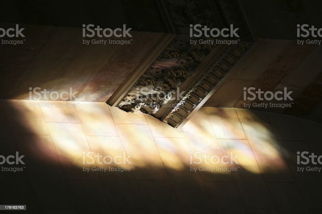 Colored light projection in Marseille Cathedral, France stock photo