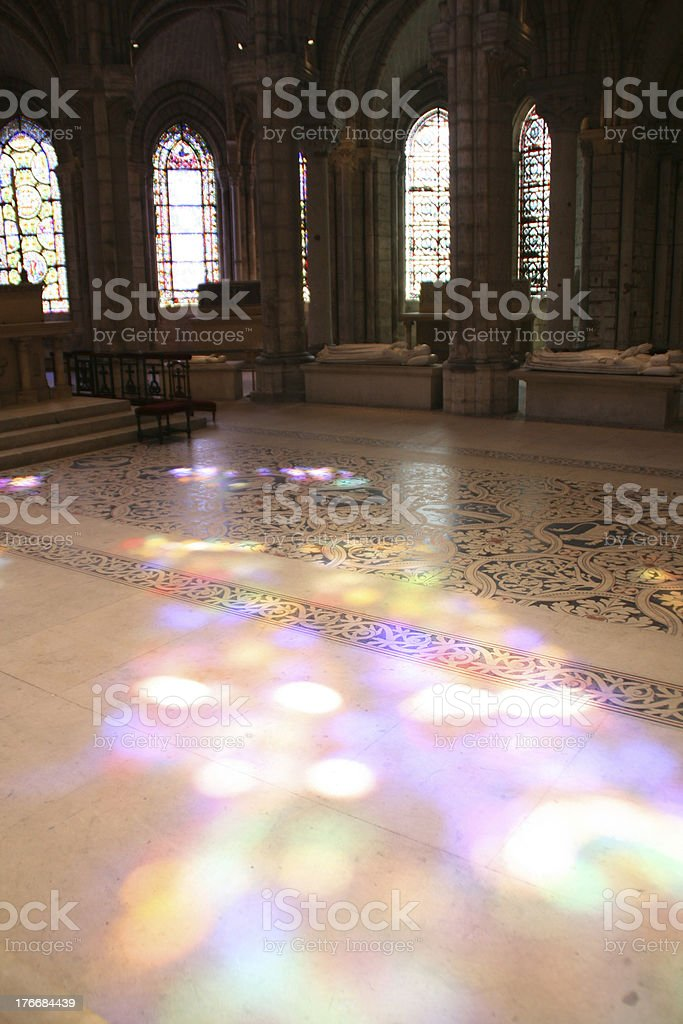 Colored light projection in Saint Denis Basilica, France stock photo