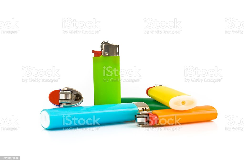 Colored lighters isolated on white background stock photo