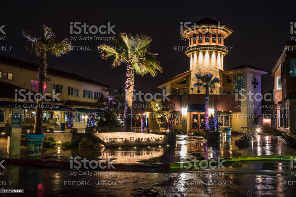 Colored lights and shimmering sidewalks. stock photo