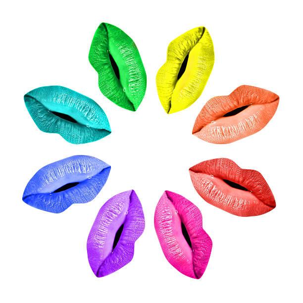 farbige lippen regenbogen-farbpalette, isoliert auf weißem hintergrund - regenbogen make up stock-fotos und bilder