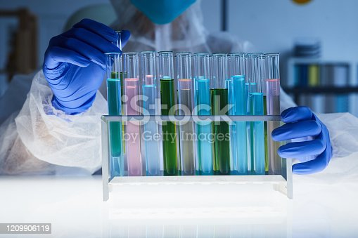 842438082 istock photo Colored Liquid in Test Tubes 1209906119