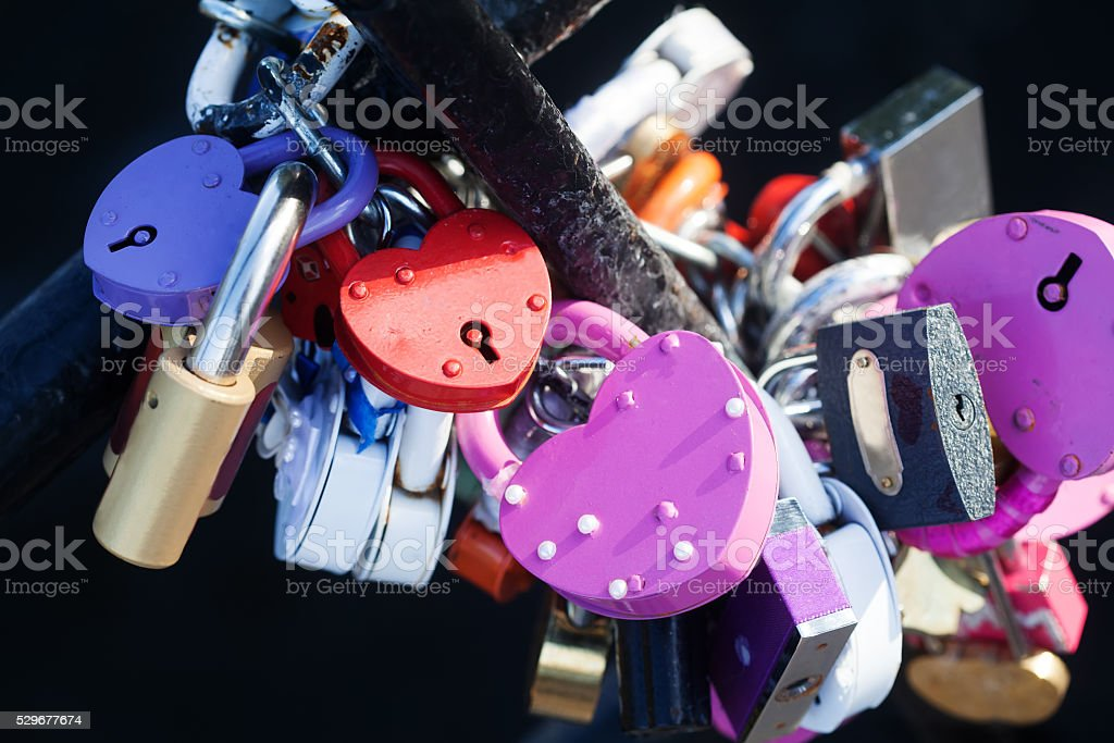 Colored love padlocks collection. Metal textures, pattern and vintage design stock photo