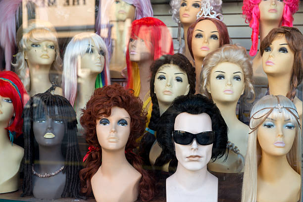 colored mannequins stock photo