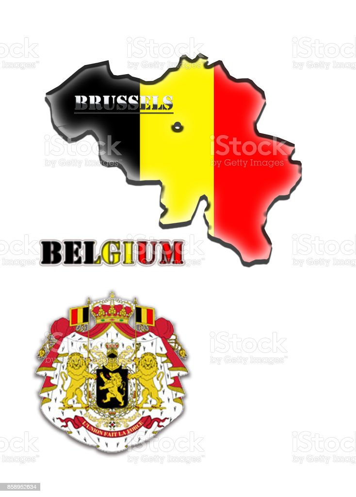 colored map of Belgium stock photo