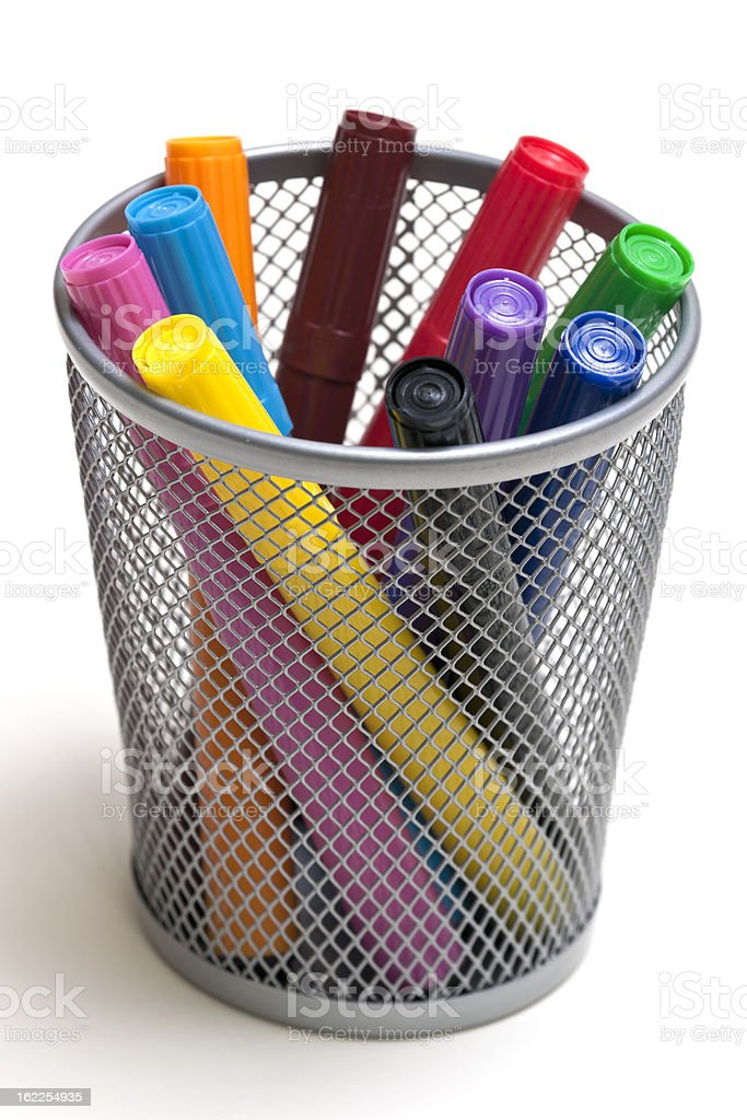 Colored Markers in Holder royalty-free stock photo