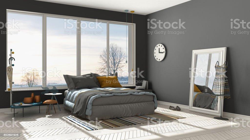 Couleur Moderne Grise Et Blanche Chambre Avec Grande Fenêtre Panoramique,  Coucher De Soleil, Aube