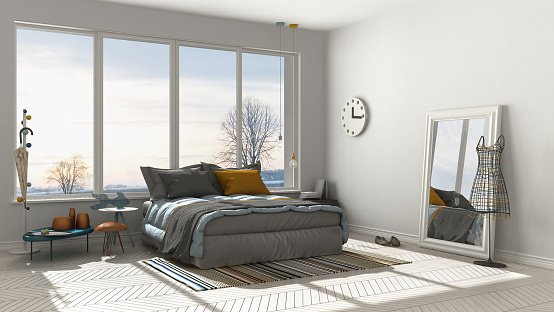 Colored modern white bedroom with big panoramic window, sunset, sunrise, architecture minimalist interior design