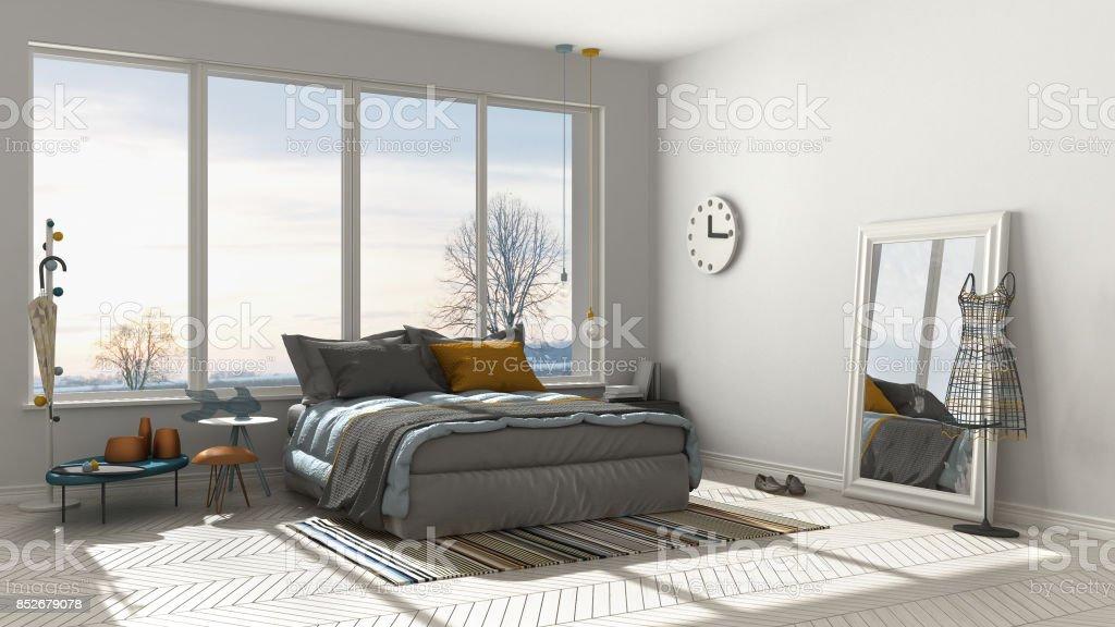 Colored modern white bedroom with big panoramic window, sunset, sunrise, architecture minimalist interior design stock photo