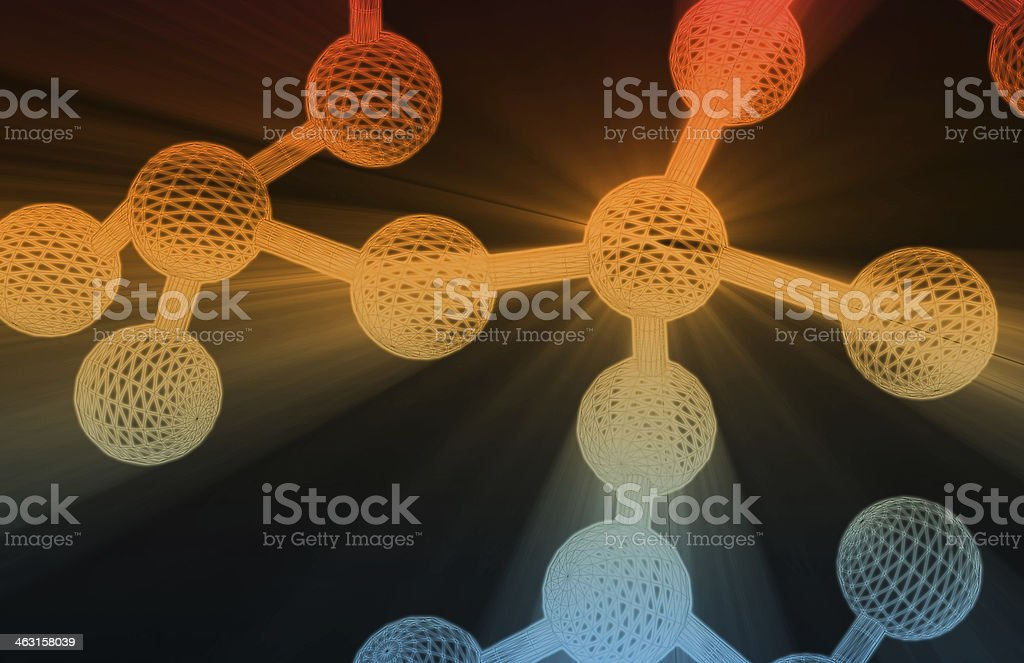Colored molecules floating on a black background royalty-free stock photo