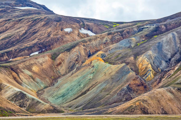 colored mountains of the volcanic landscape of Landmannalaugar. Iceland stock photo