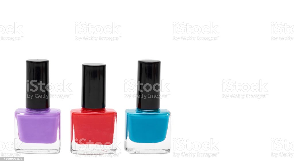 Colored Nail Polish Bottles Isolated On White Background Copy Space ...