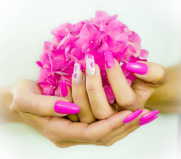 colored nails for spring stock photo