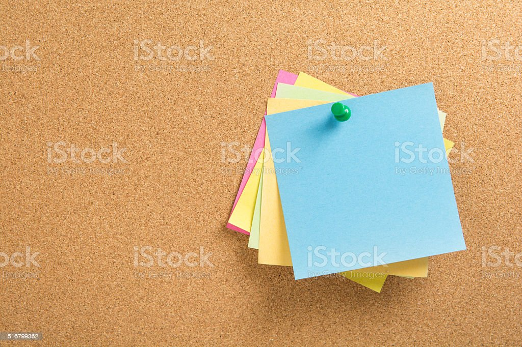 colored notepapers stock photo