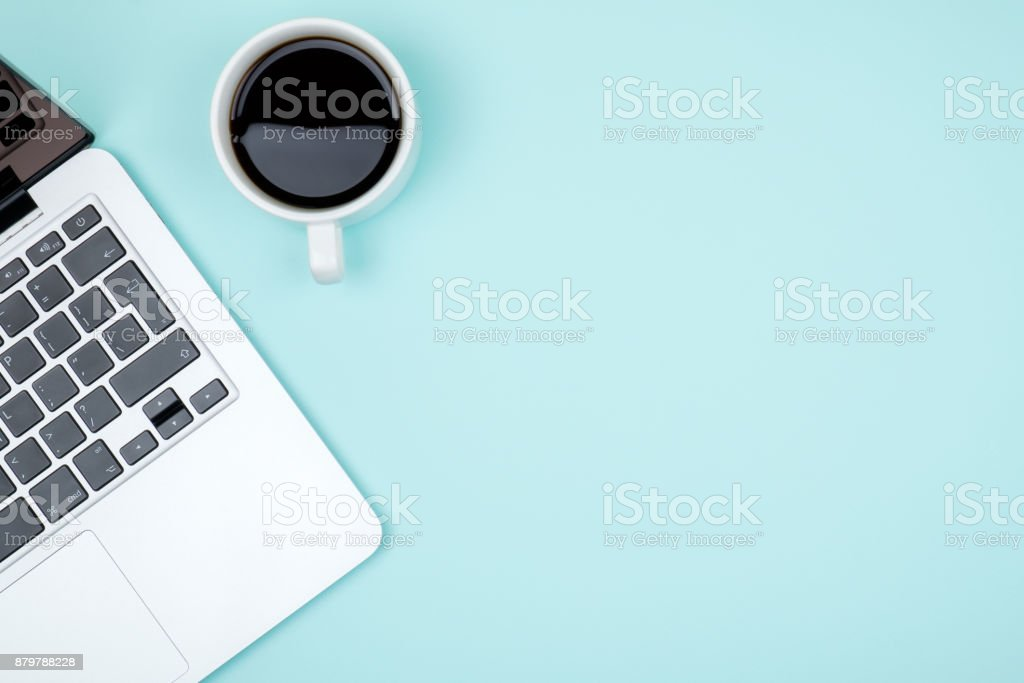 Colored office desk table with computer. Top view with copy space stock photo