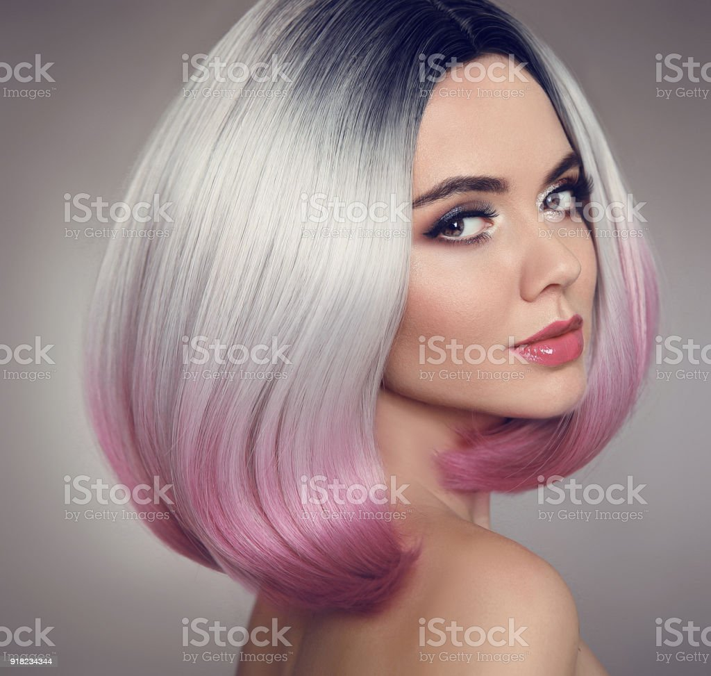 Colored Ombre Bob Hair Extensions Beauty Makeup Attractive Model