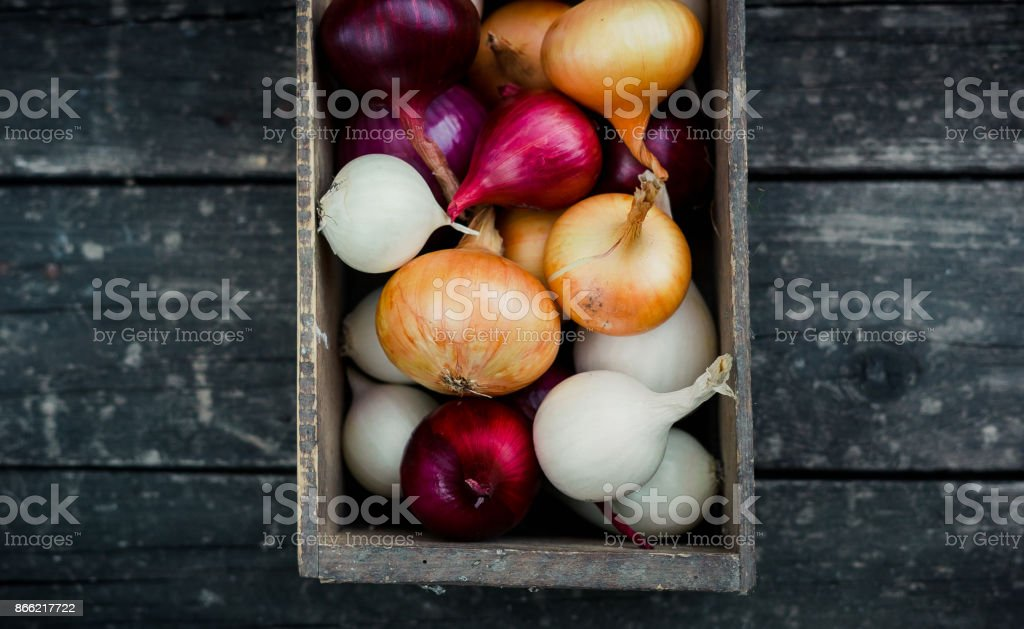 colored onion in a box on wood background.Top view stock photo