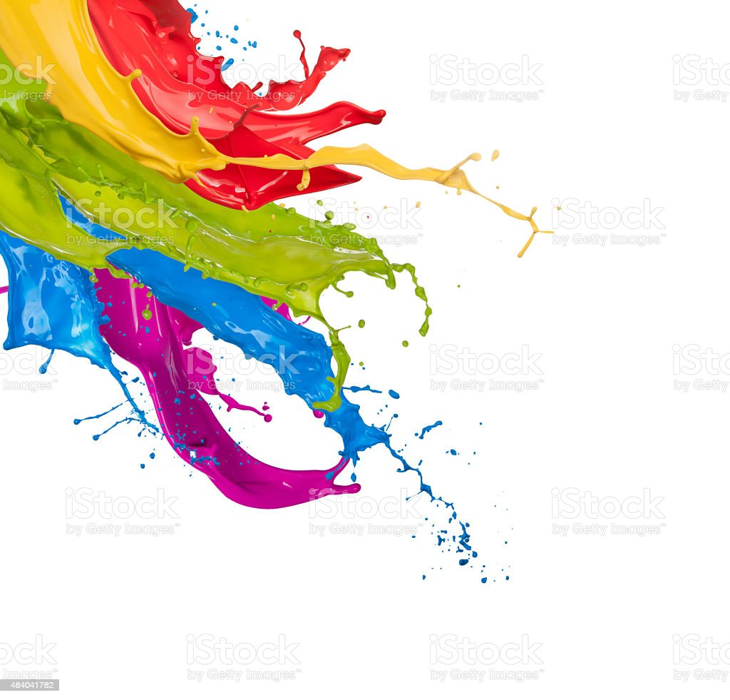 Colored paint splashes on white background stock photo