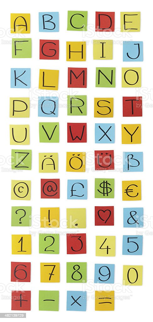 'Colored paper' alphabet. Capital letters. stock photo