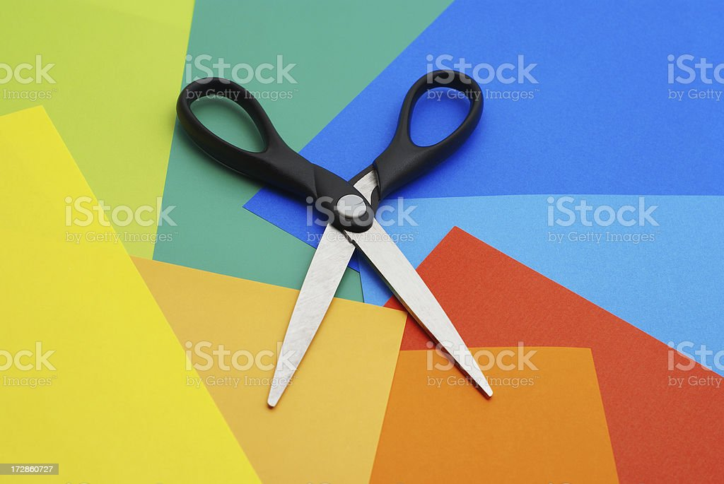 Colored paper and scissors royalty-free stock photo