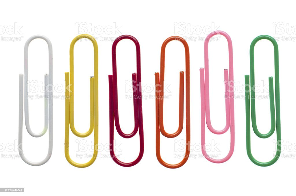 Colored paper clips royalty-free stock photo