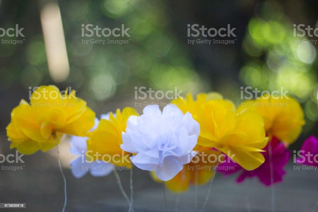 Fleurs de papier de couleur. Flou artistique photo libre de droits