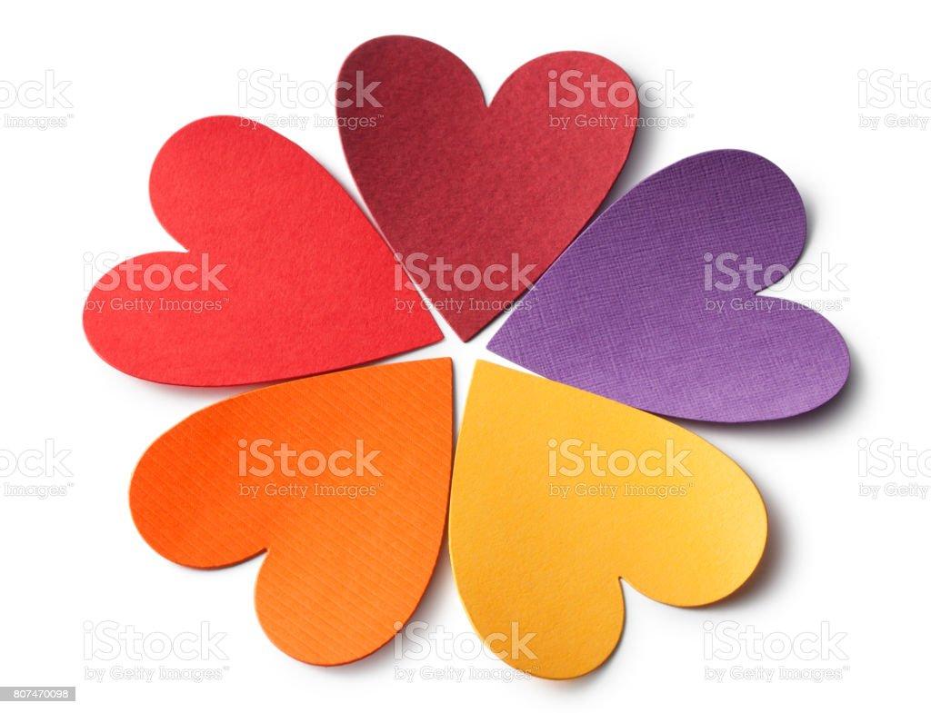 Colored paper hearts - foto stock