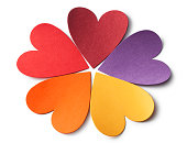 Colored paper hearts