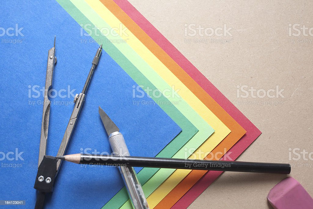 Colored Papers with Supplies royalty-free stock photo