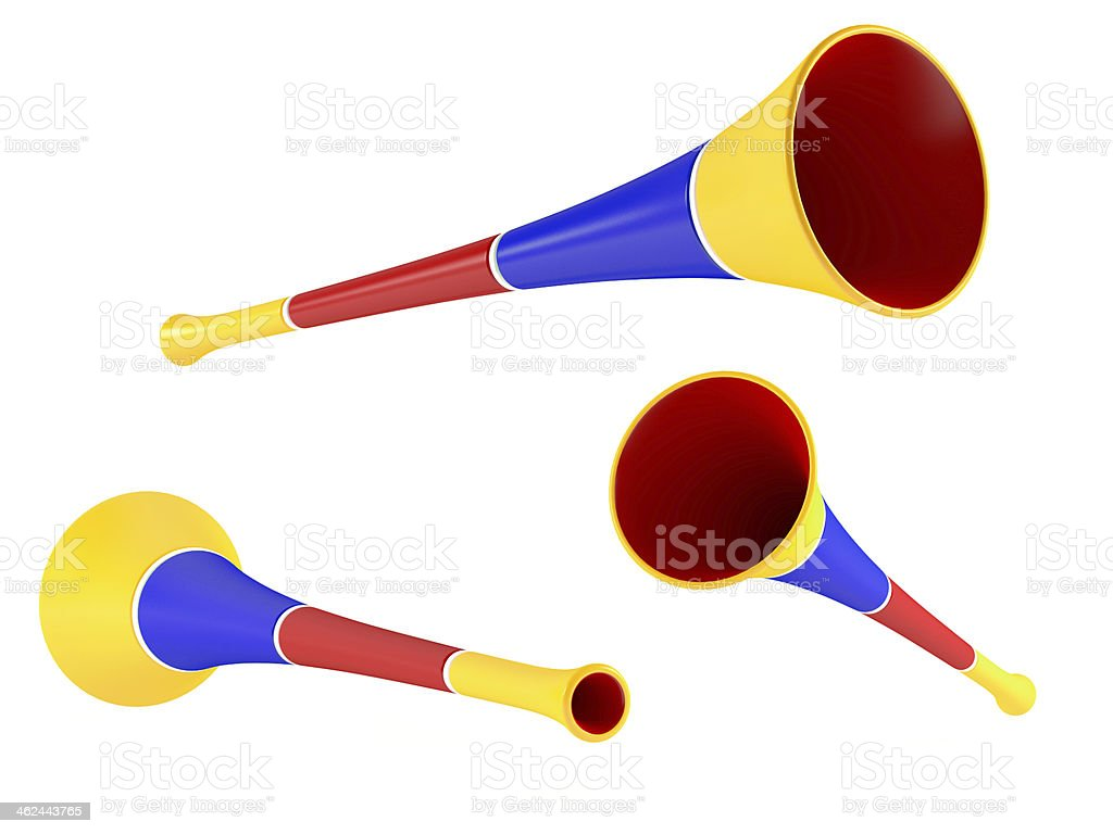 colored party horn. Multiple angles of view stock photo
