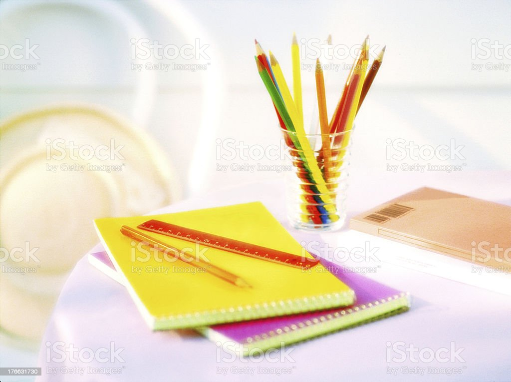 colored pencil and  sketch book royalty-free stock photo