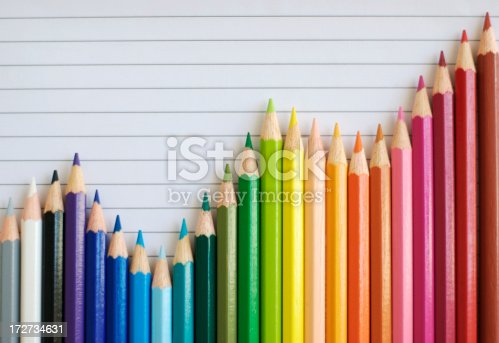 A bar graph made of colored pencils shows fluctuations but a general uptrend