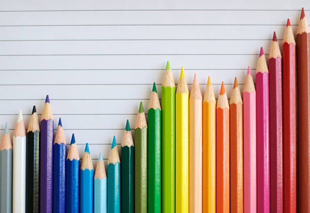 Colored Pencil Bar Graph Lined Paper Gives Successful Result A bar graph made of colored pencils shows fluctuations but a general uptrend flourish art stock pictures, royalty-free photos & images