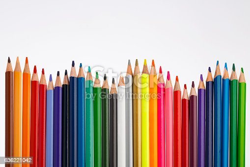 Colored Pencil. Colorful wooden pencils on white background.