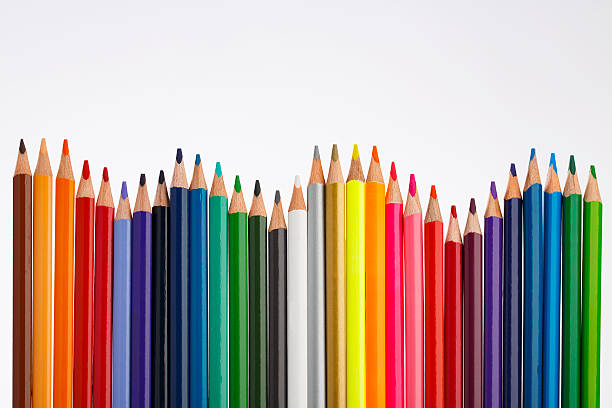 colored pencil on  white background - coloured pencil stock photos and pictures