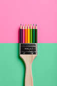 Colored Pencil Paint Brush - Pink Green