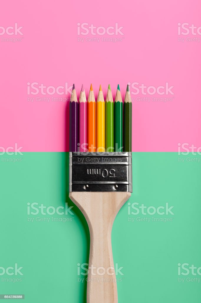 Colored Pencil Paint Brush - Pink Green stock photo