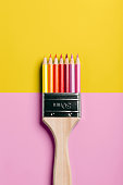 Colored Pencil Paint Brush - Pink Yellow