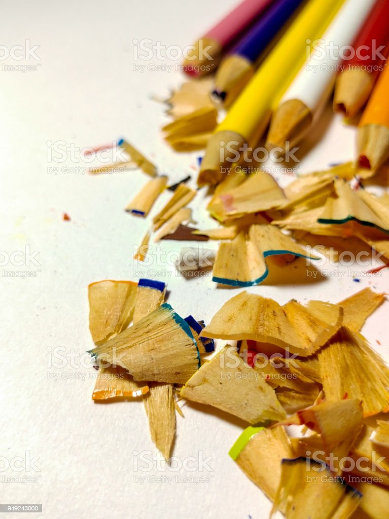 Colored Pencil Shavings, Pile of stock photo