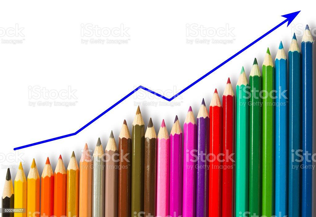 Farbige Stifte und Grafik – Foto
