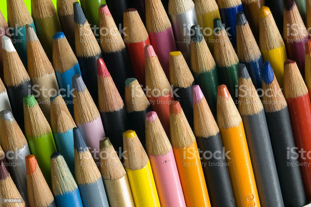 Colored pencils angled stock photo